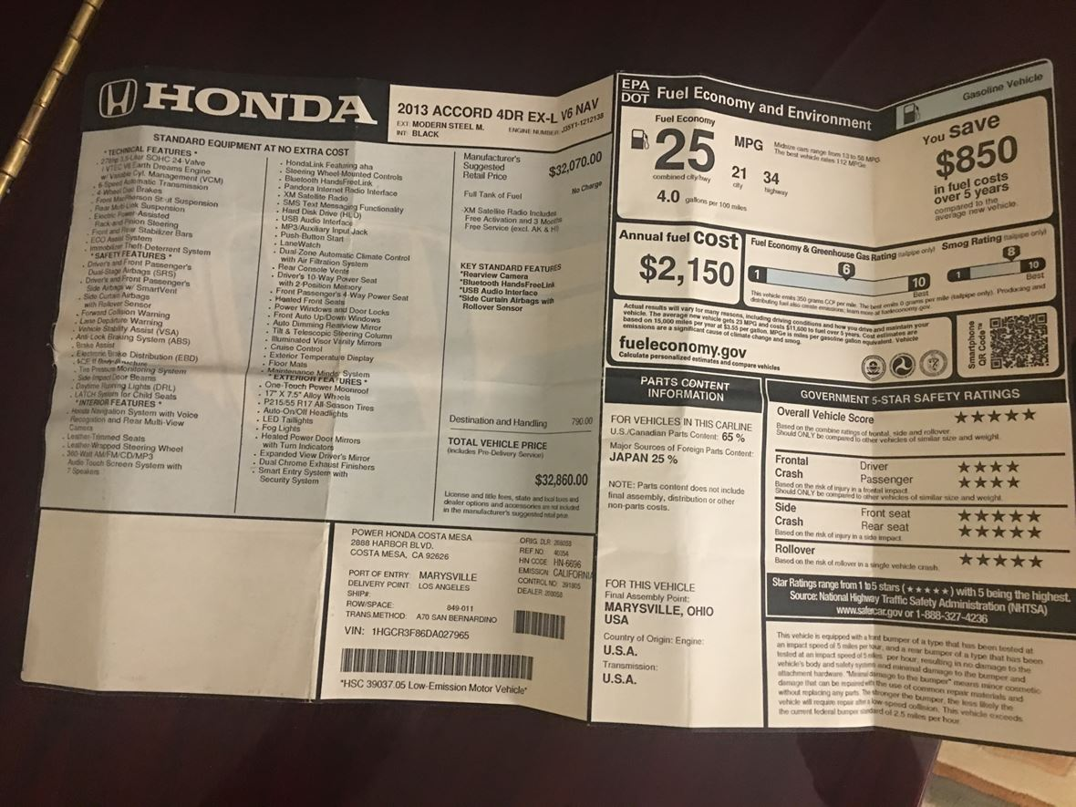 2013 Honda Accord for sale by owner in Santee